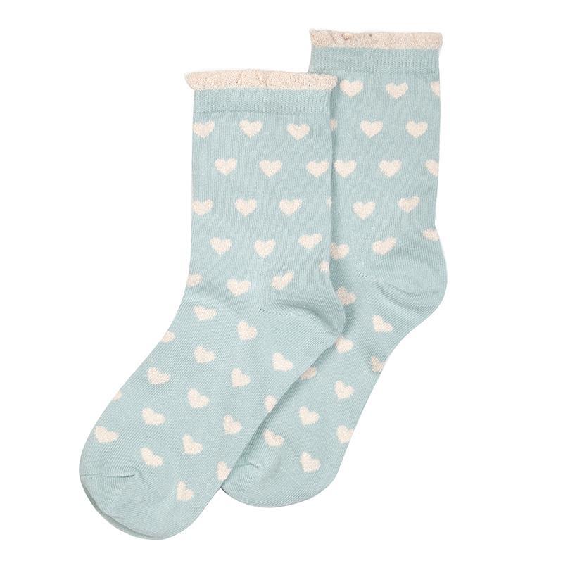 Millie Mae Socks Hearts Aqua