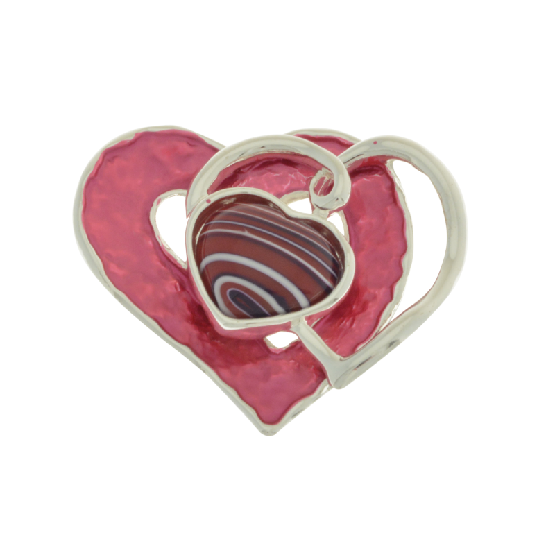 Pink Heart Magnetic Brooch