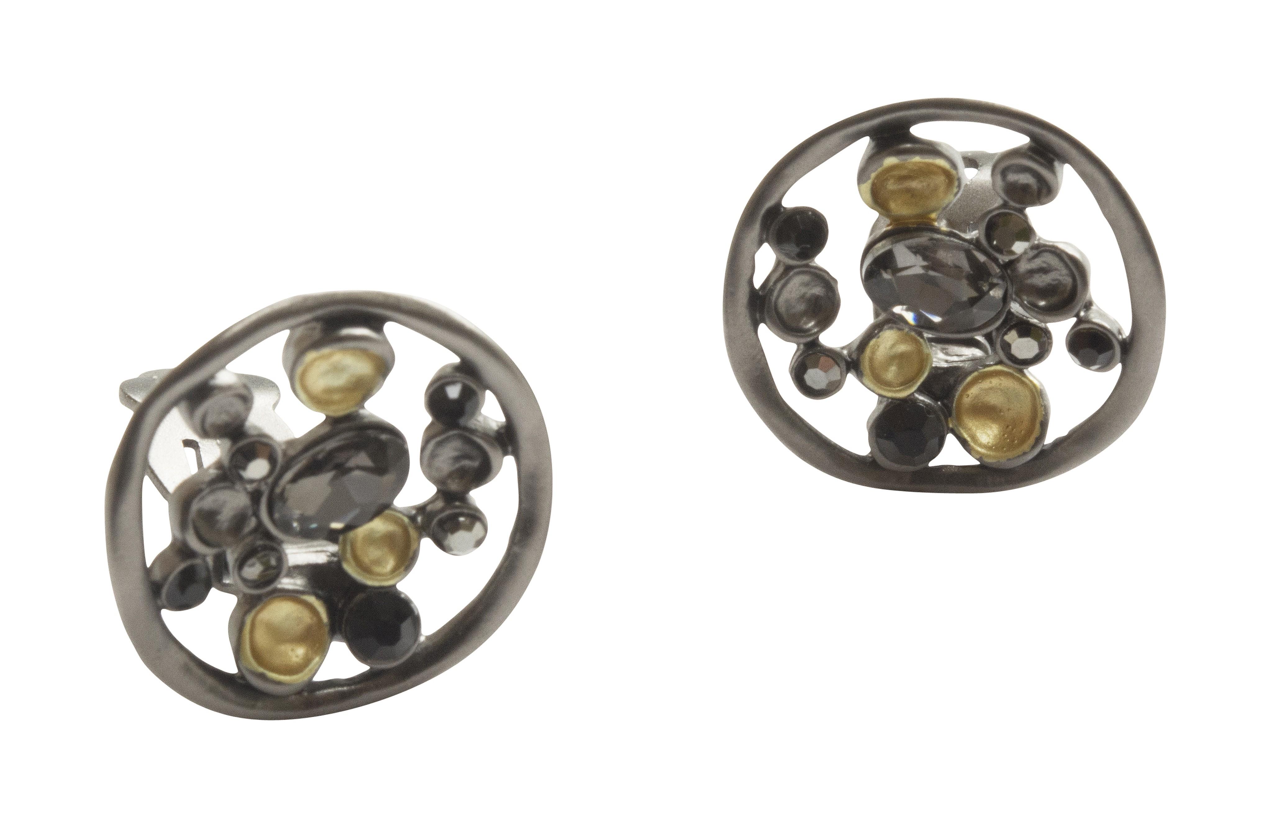 Gold & Grey Clip On Disc Earrings NBC