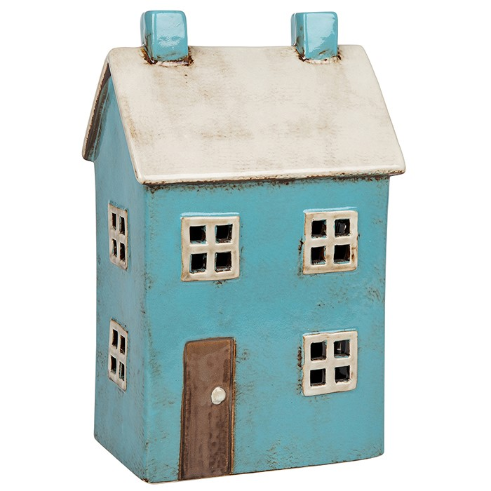Ceramic Large House Blue Tealight Holder