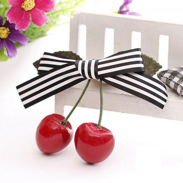 Vintage Cherry Bow Hairclip Black Stripe NBC
