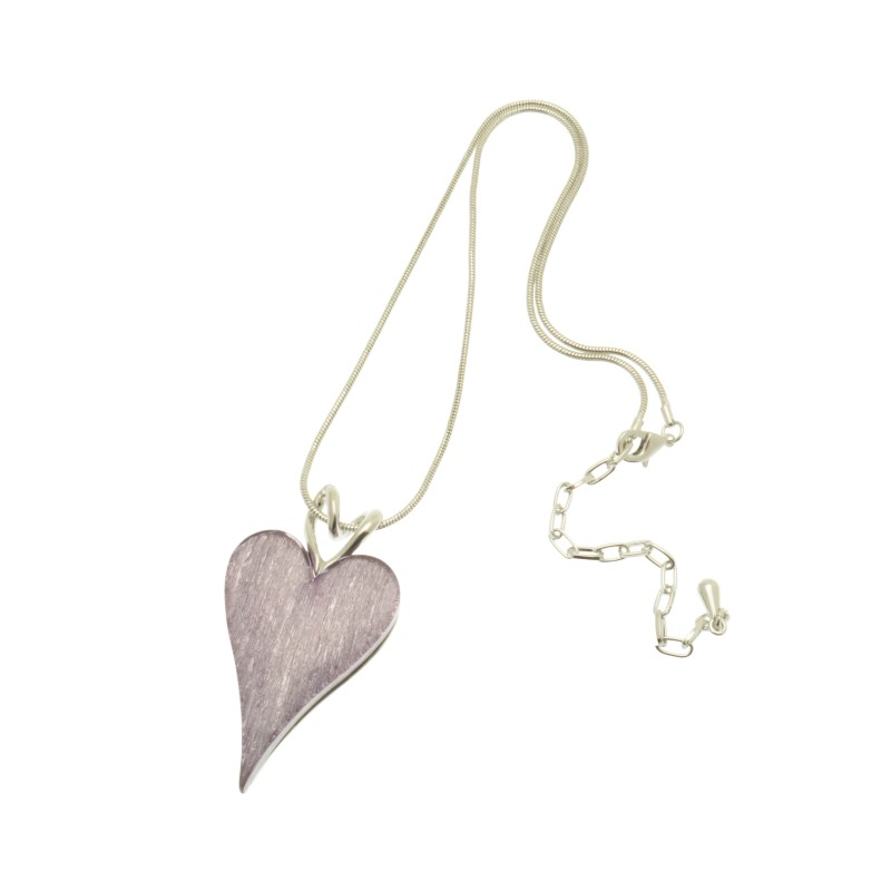 Lilac Resin Heart Necklace