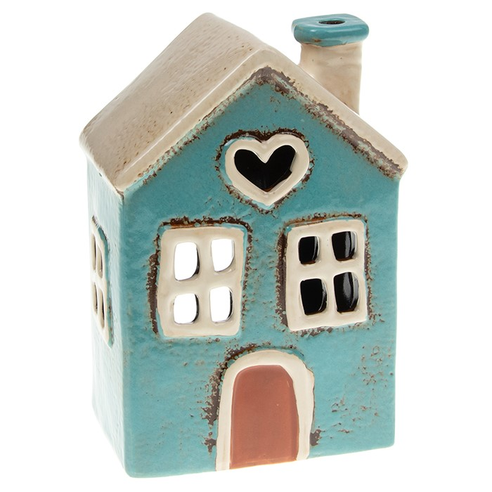 Ceramic Small House Teal Heart Tealight Holder