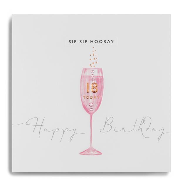 Copper Leaf Sip Sip 18th Birthday Card