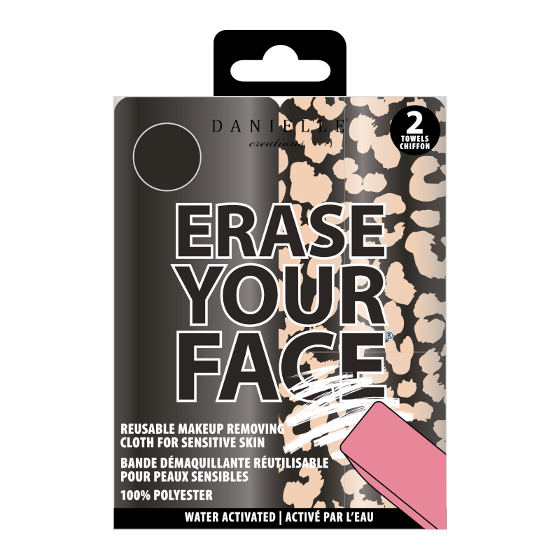 Erase Your Face Reusable Make Up Removal Cloth Duo Pack Black/Leopard