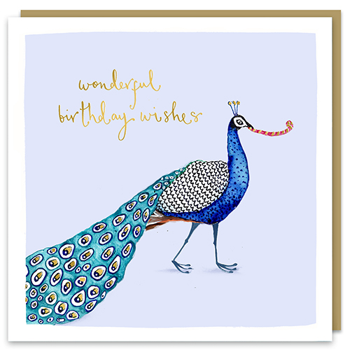 Wonderful Birthday Wishes Peacock Card