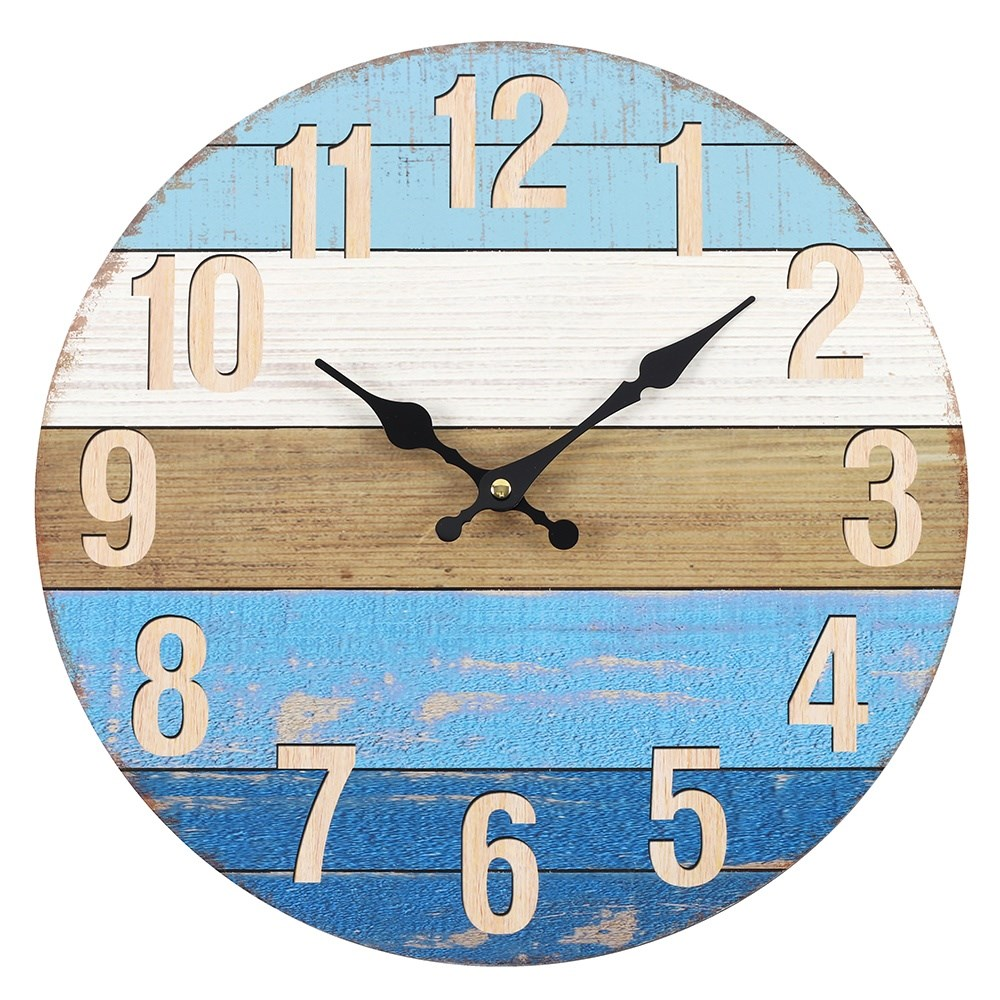 Nautical Blue Striped Clock