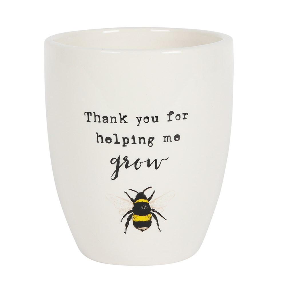 Bee Thank You For Helping Me Grow Ceramic Plant Pot
