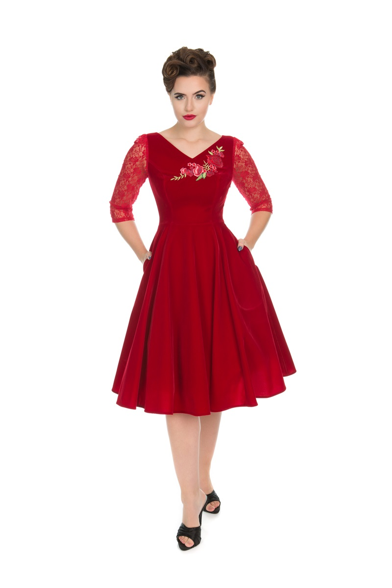 Lily Red Velvet 1950s Style Dress Size 10