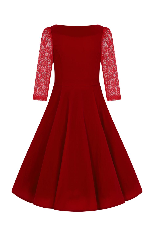 Lily Red Velvet 1950s Style Dress 10