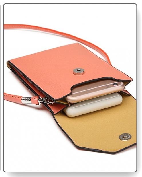 Slim Mobile Crossbody Bag Salmon Pink