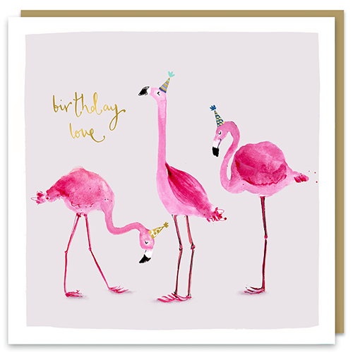 Birthday Love Flamingos Card