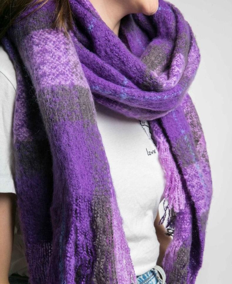 Thick Colour Block Scarf Purple