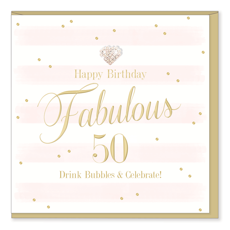 Hearts Designs 50 Striped Birthday Card