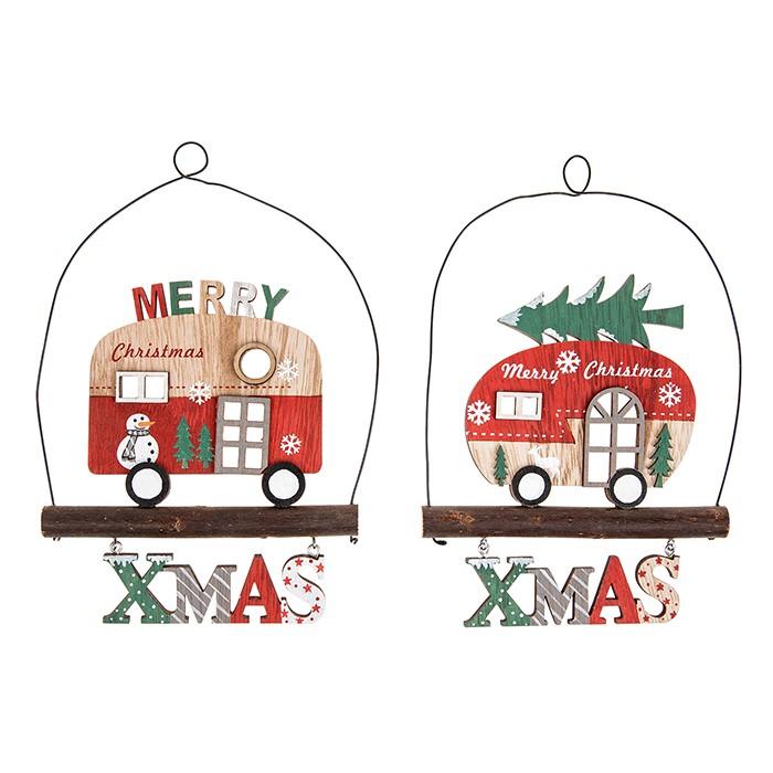 Christmas Hanging Vintage Caravan Plaque