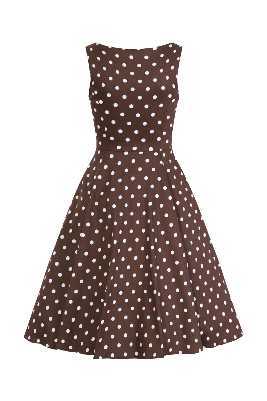 Julia Brown Polka Dot 1950s Style Dress 8