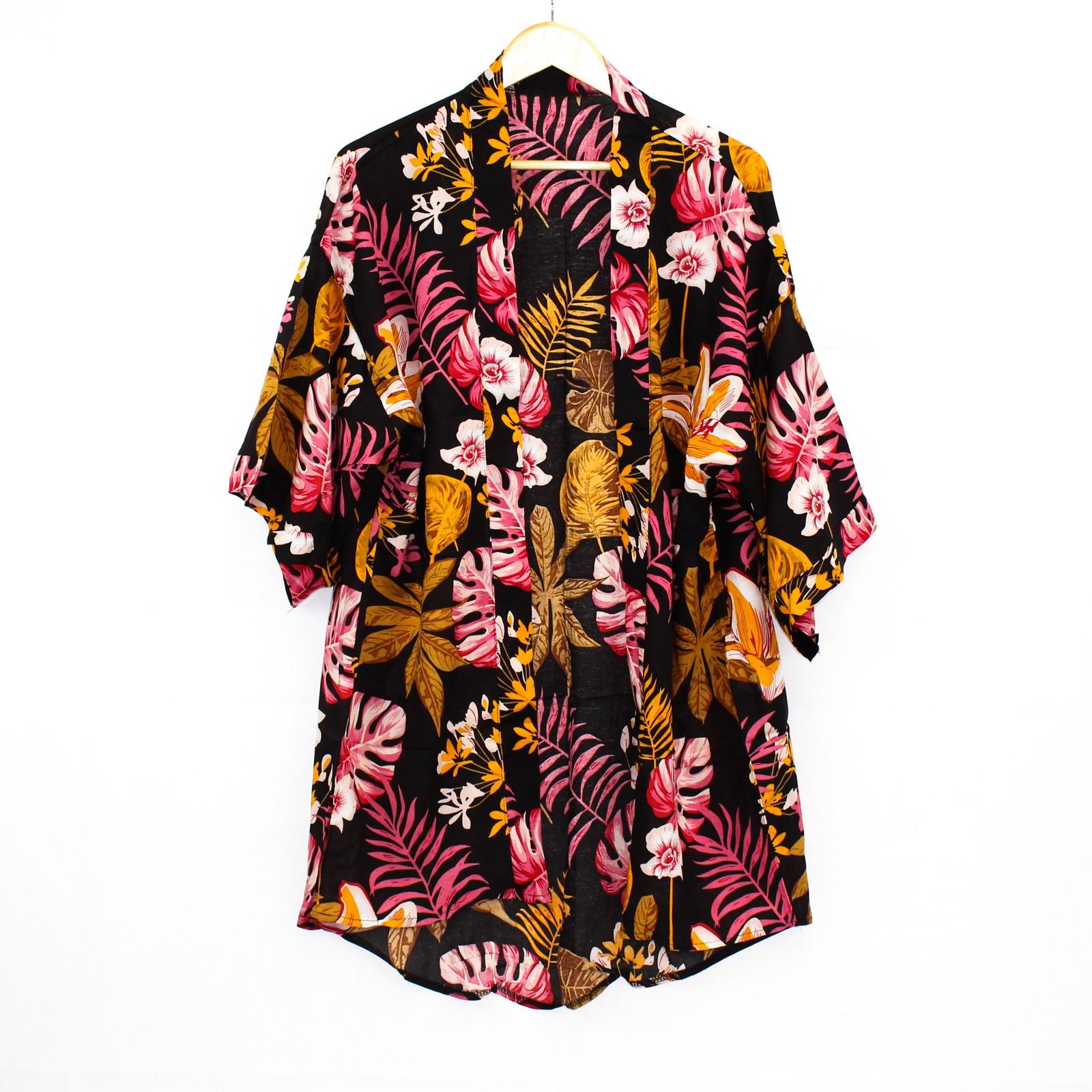 Ume Black Tropical Print Kimono
