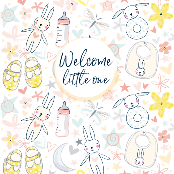 Pattern Boutique Welcome Little One Baby Card