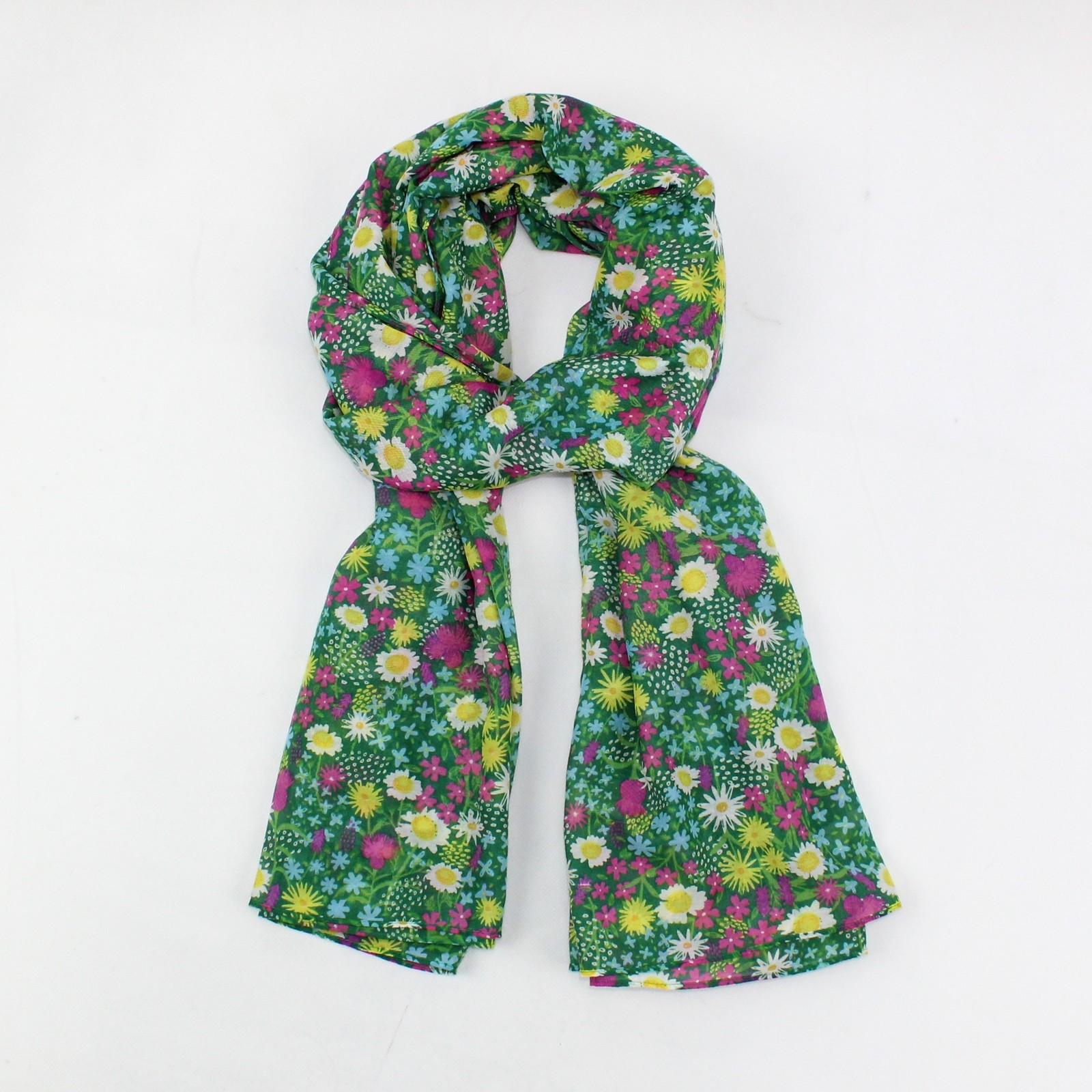 Wild Flowers Scarf Green SALE HALF PRICE