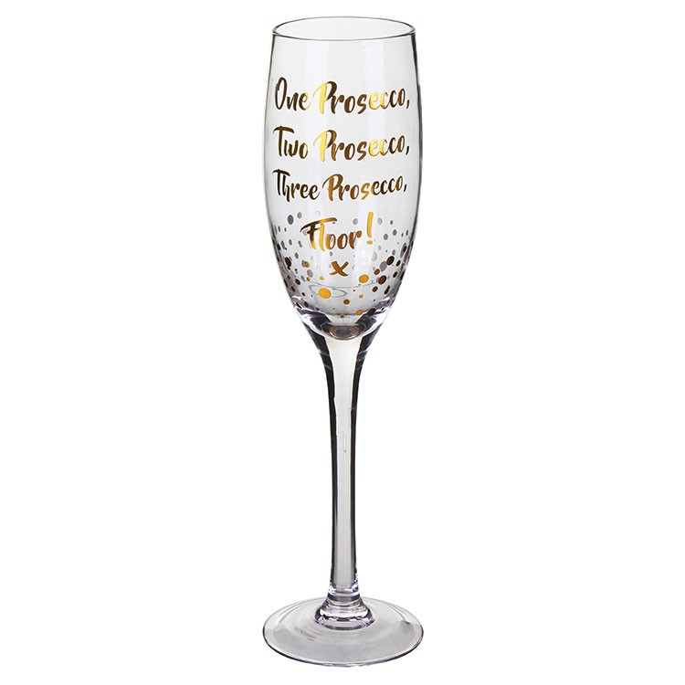 One Two Three Prosecco Flute Glass