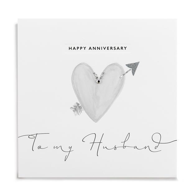Silver Leaf Happy Anniversary Husband Card
