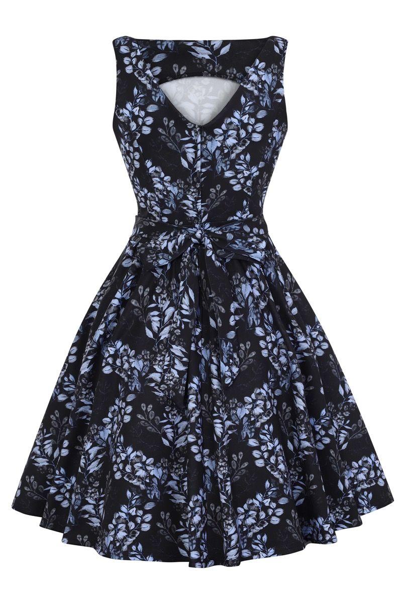 Vineyard Blue 1950s Style Tea Dress 10