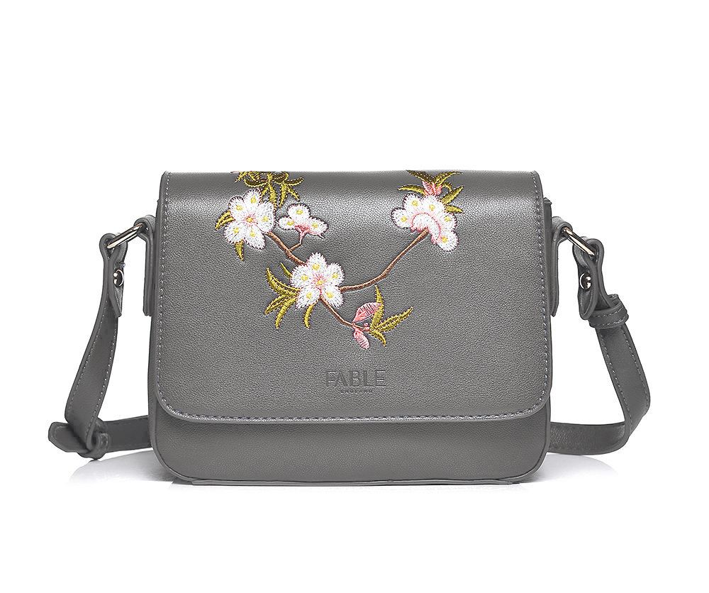 Embroidered Floral Crossbody Bag Steel Grey