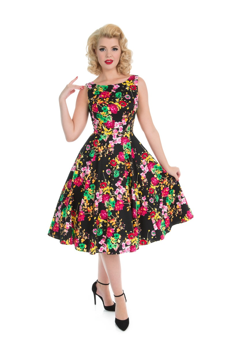 Nesta Black Floral 1950s Style Dress Size 18