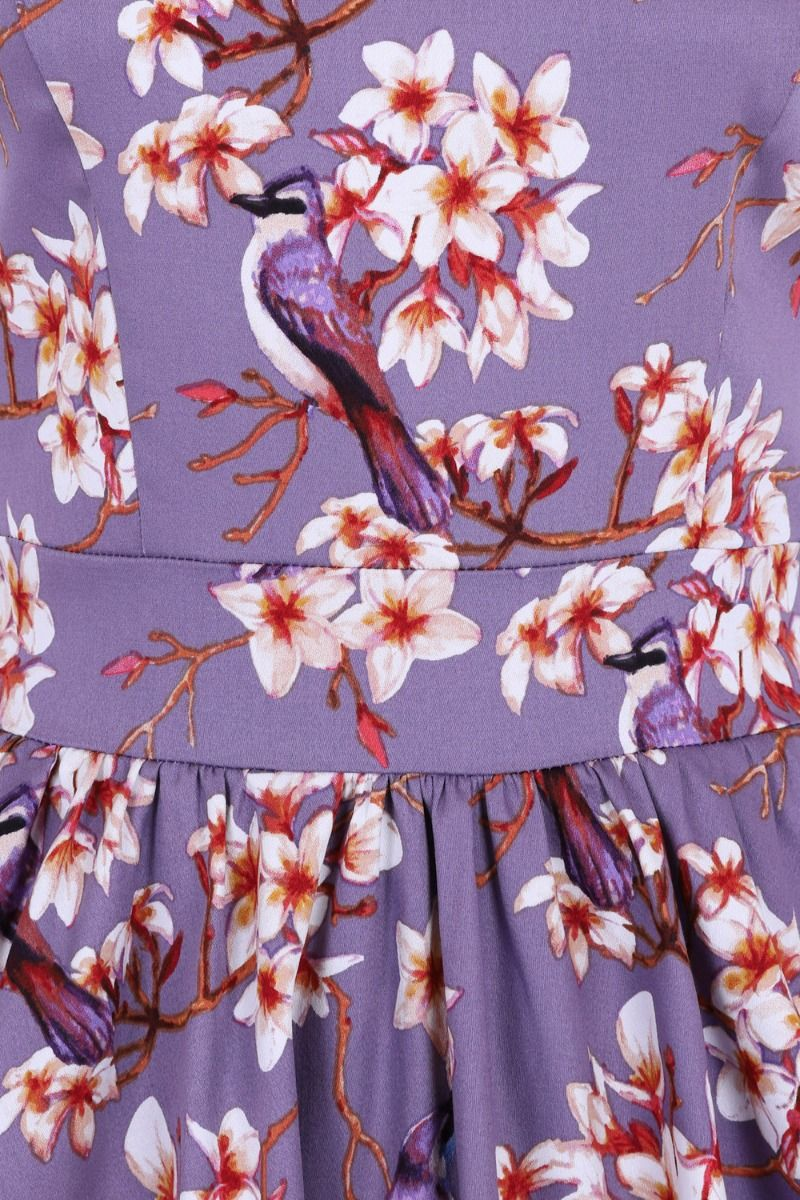 Plumeria Lilac 1950s Style Tea Dress 12