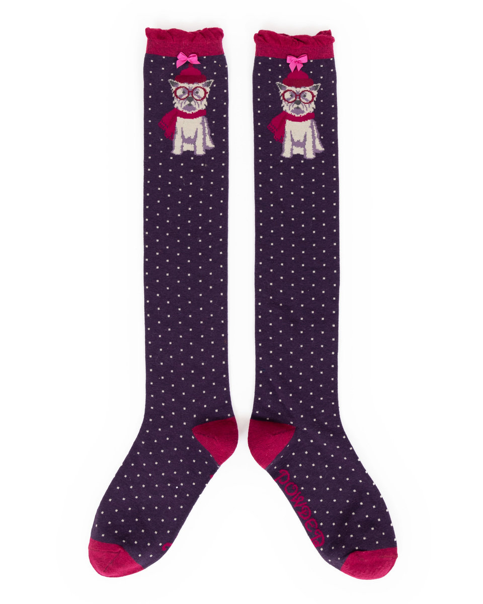 Powder Knee High Socks Westie Purple