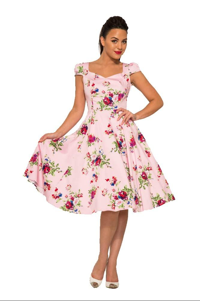 Darcey Pink Floral 1950s Style Dress
