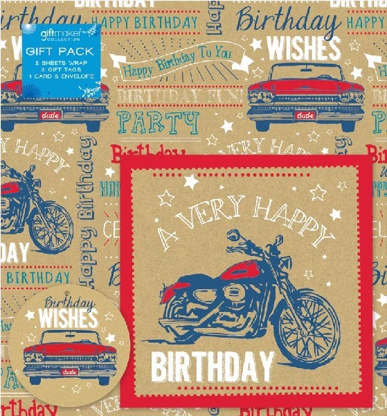 Gift Wrap Pack & Card Vintage Vehicles Birthday