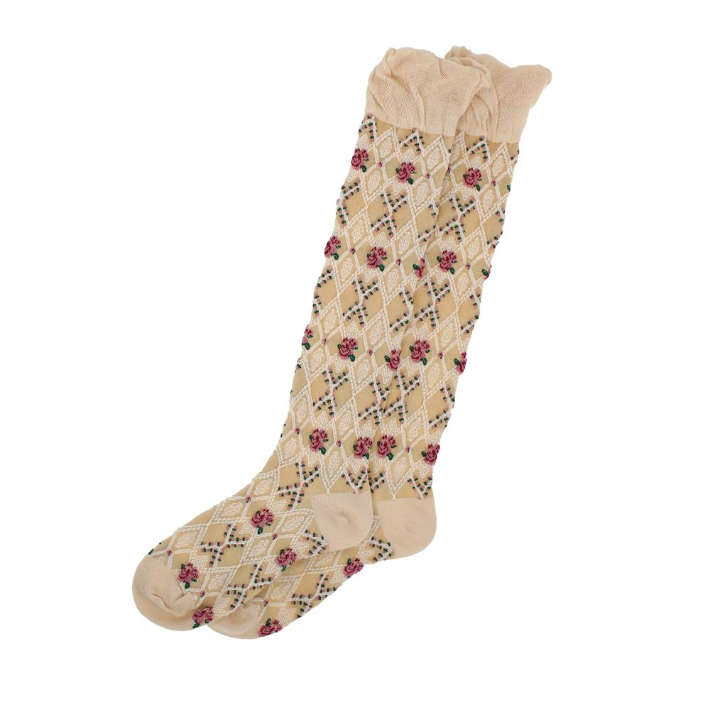 Millie Mae Socks Long Trellis Cream