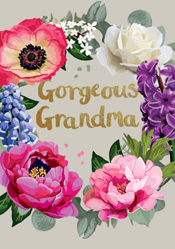 Bright Floral Gorgeous Grandma Card
