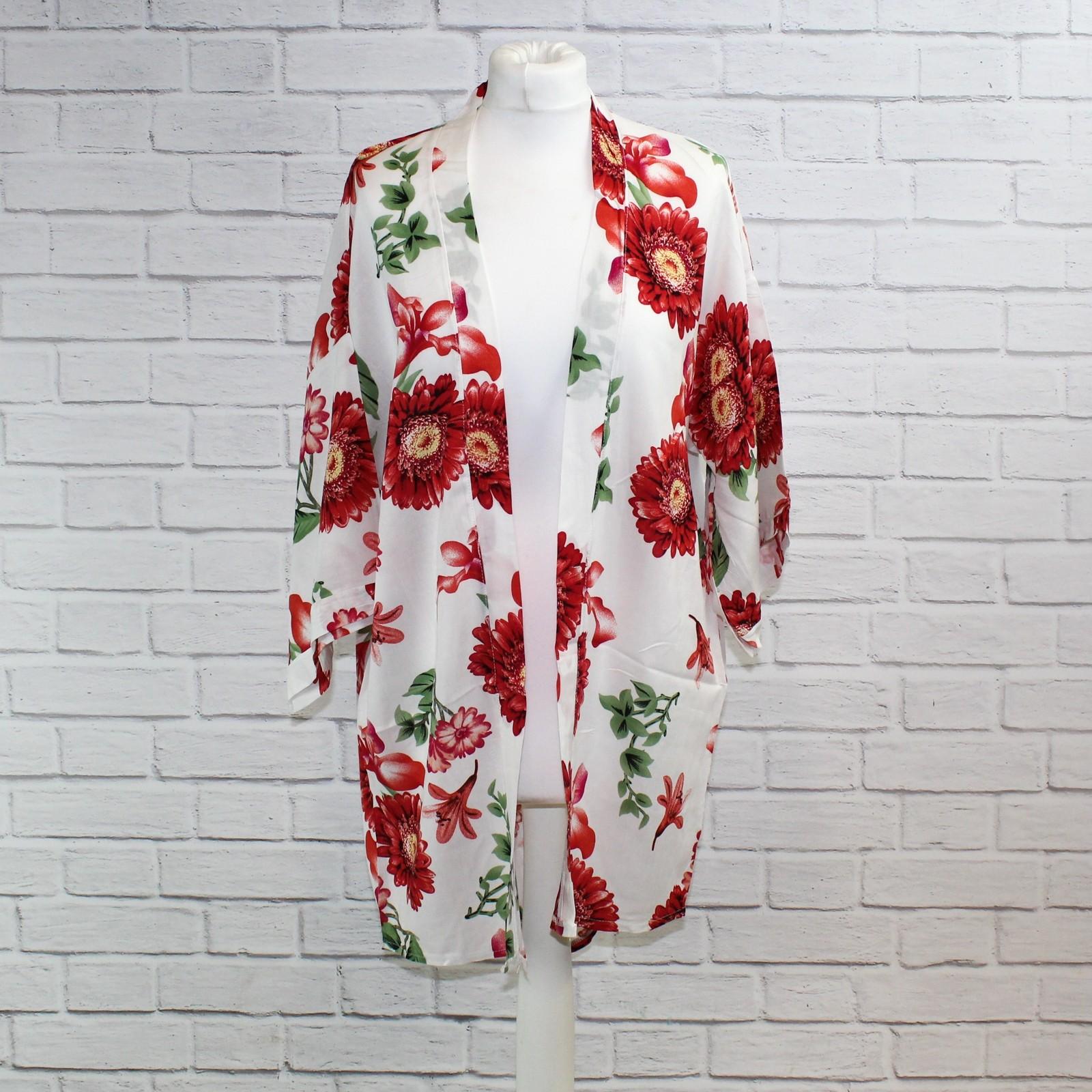 White & Red Floral Kimono NBC