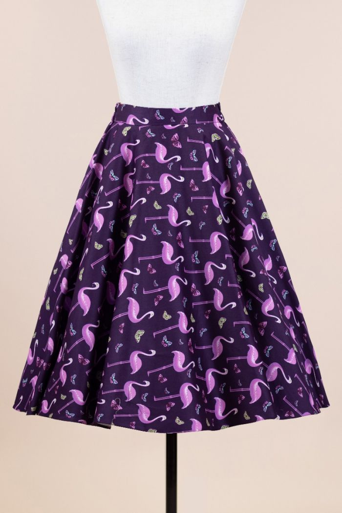 Lady Vintage Rockabilly Flamingo 1950s Skirt Size 10