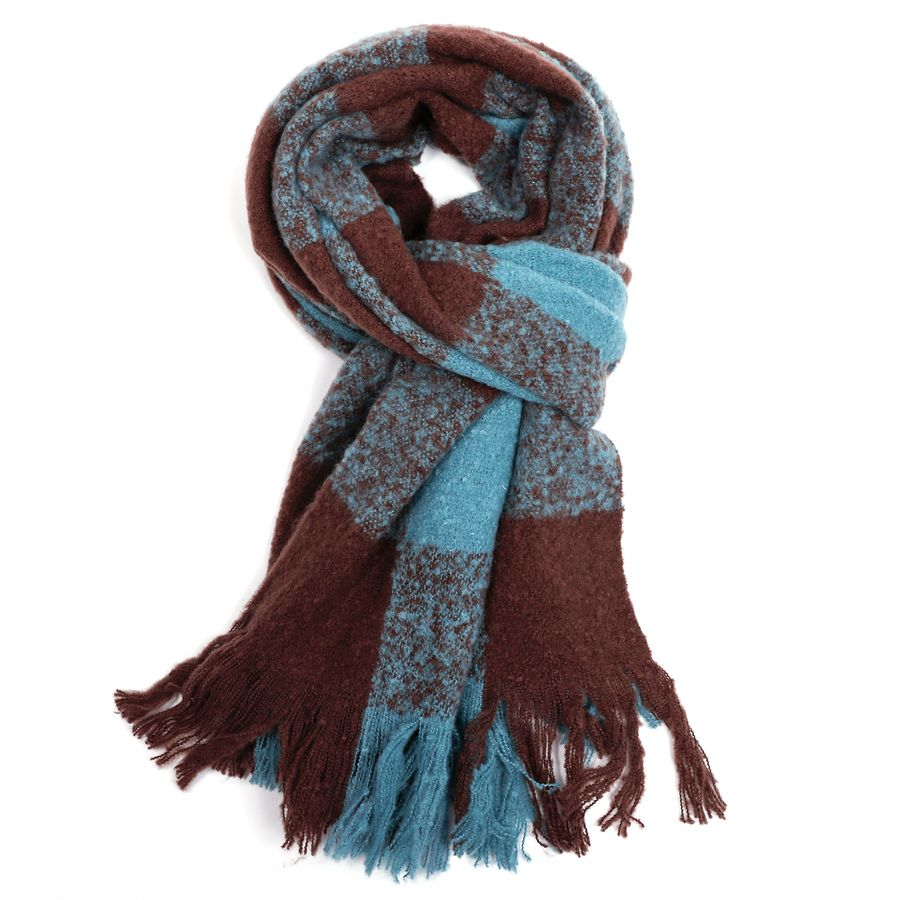 Thick Checked Scarf Turquoise & Chocolate