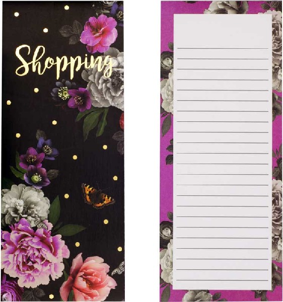 Dark Floral Magnetic Shopping List Pad