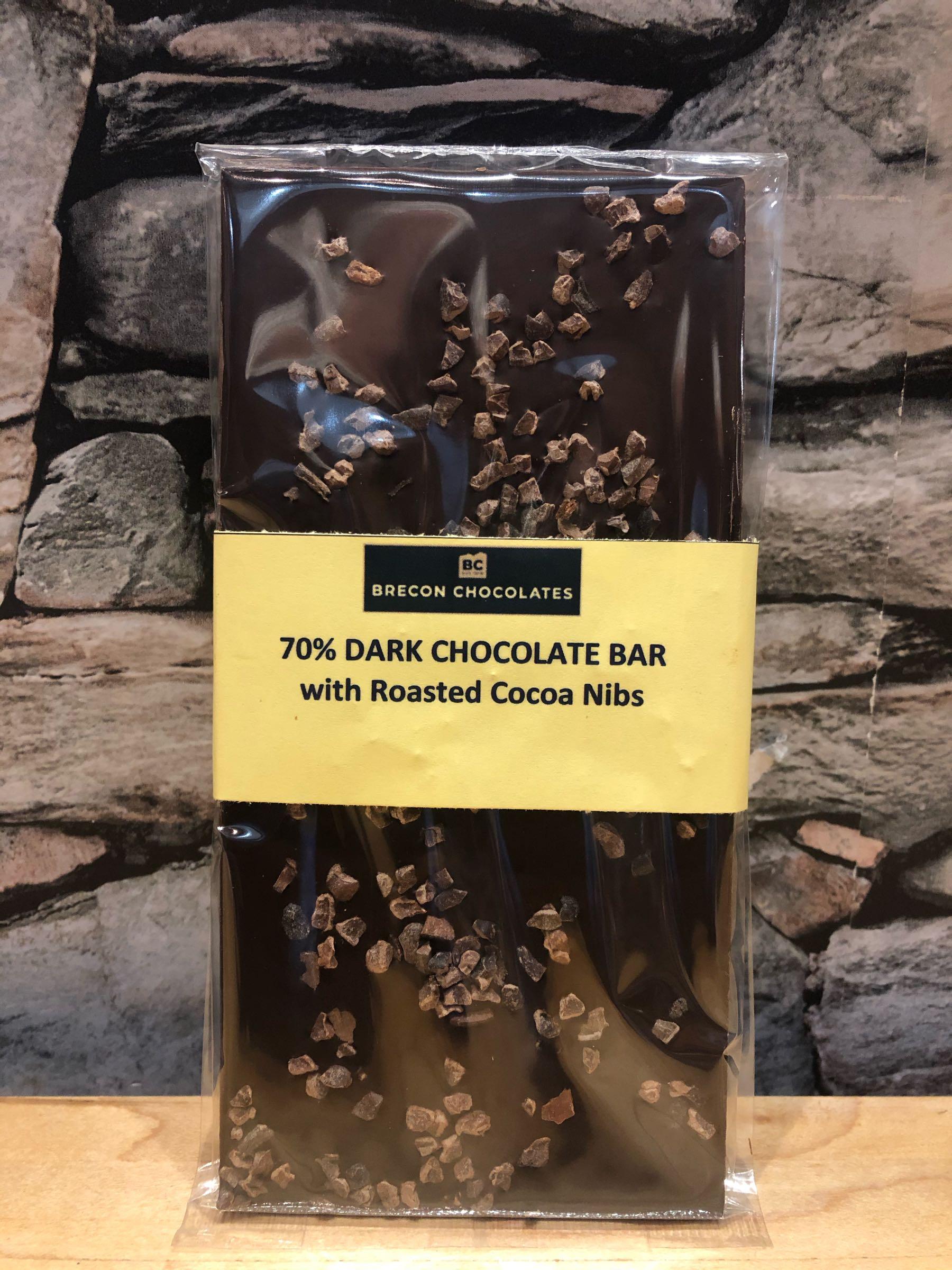 70% Dark Chocolate bar with Cocoa Nib, inclusions.