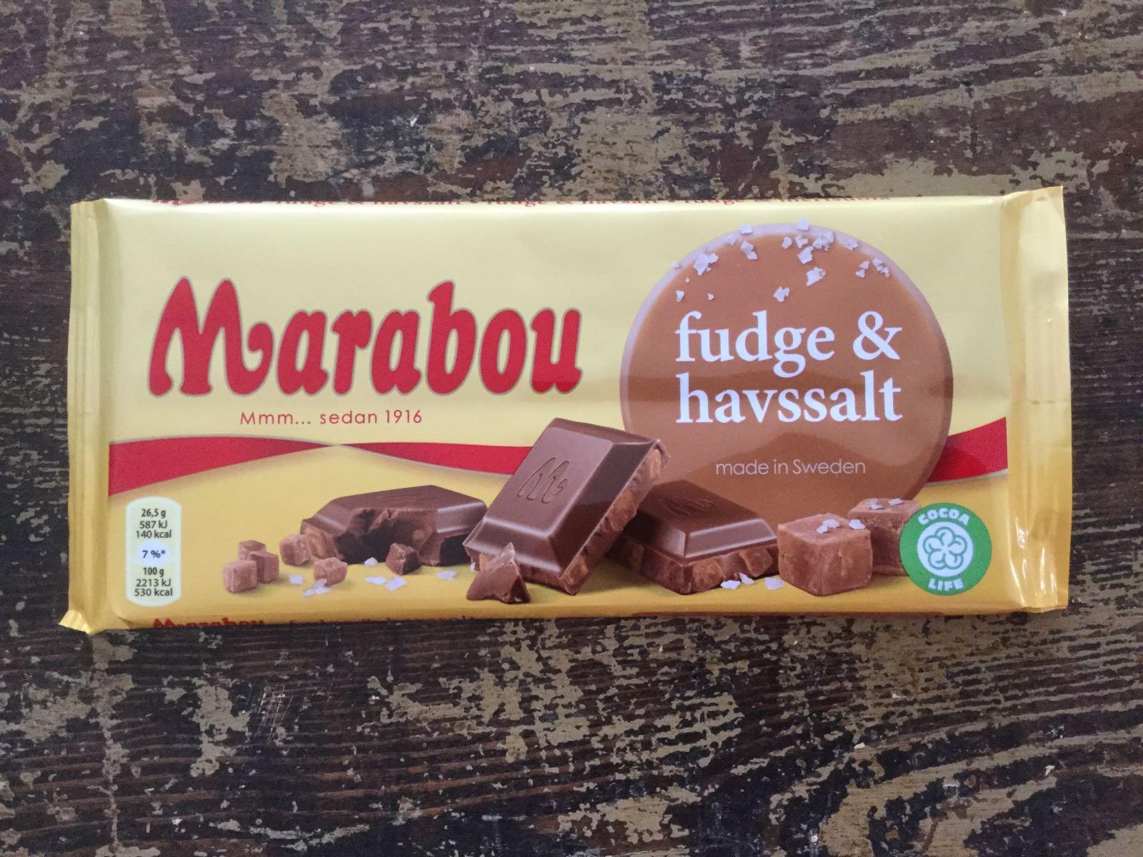 "marabou ""fudge/havssalt"", 185 g"
