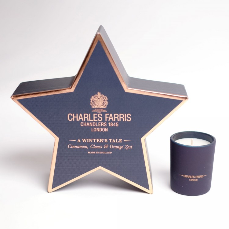 Charles Farris London A Winters Tale Candle in star gift box 80g 20 hour burn time