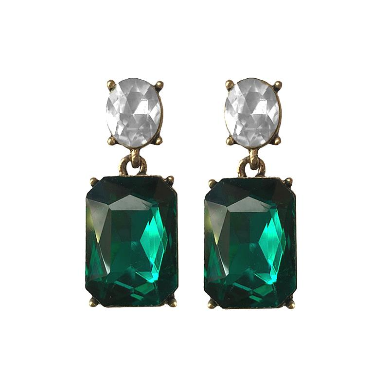 Last true angel emerald and clear gem stud earrings