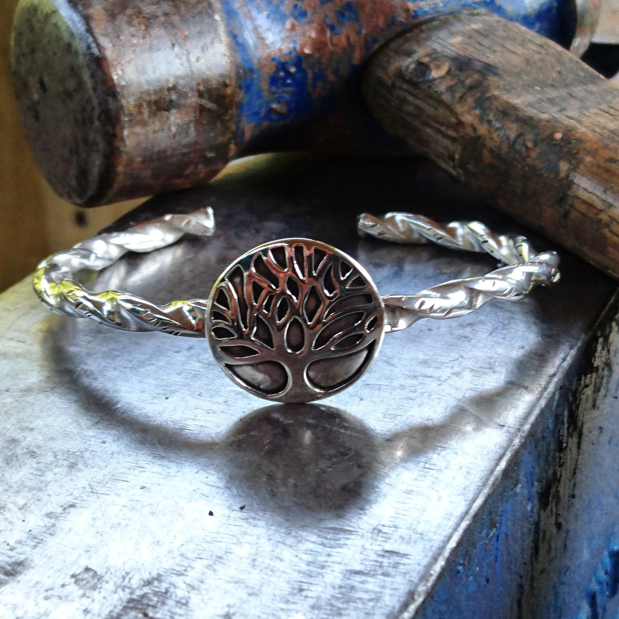 Arm band twisted Silver with Yggdrasil
