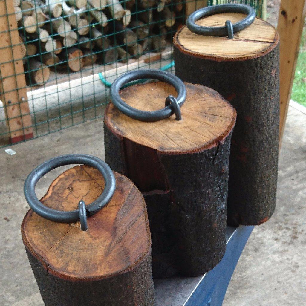 Door stop - wood and iron