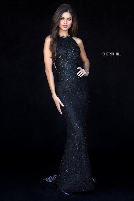 SHERRI HILL DRESS 51739 black / multi str 4