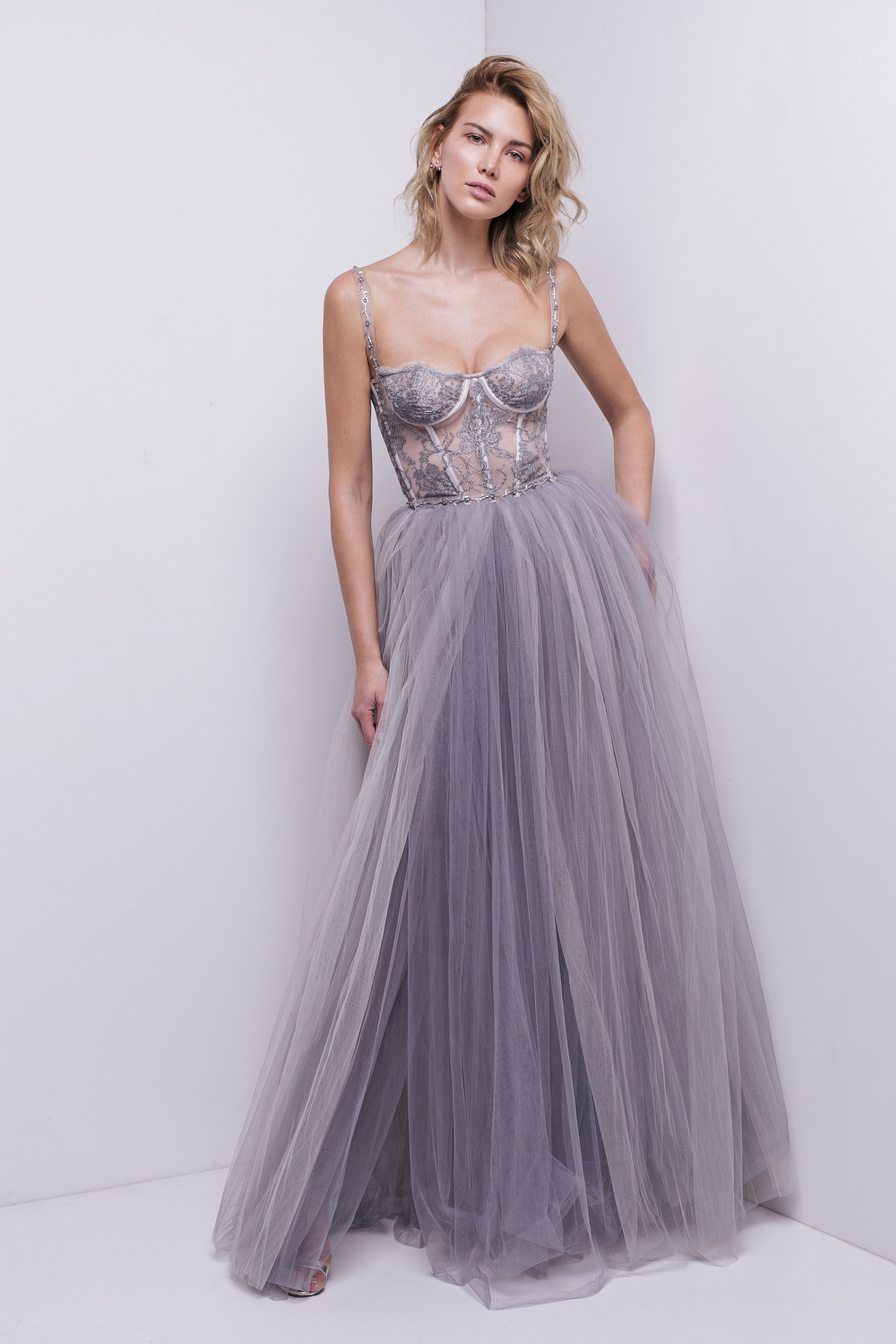 AURELIANA - SILVER CHANTILLY LACE TULLE GOWN