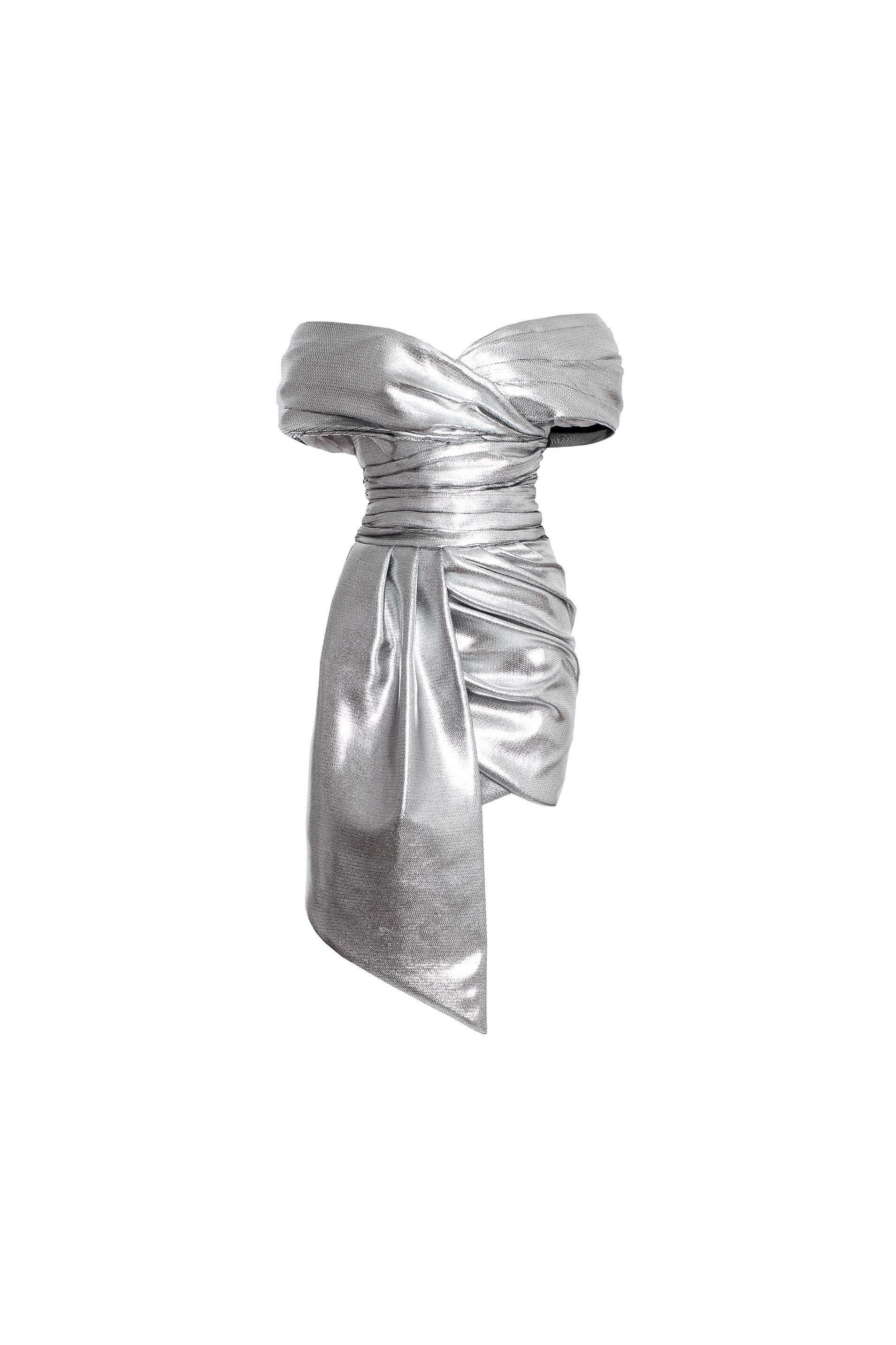 Alexandre Vauthier Metallic off shoulder mini dress