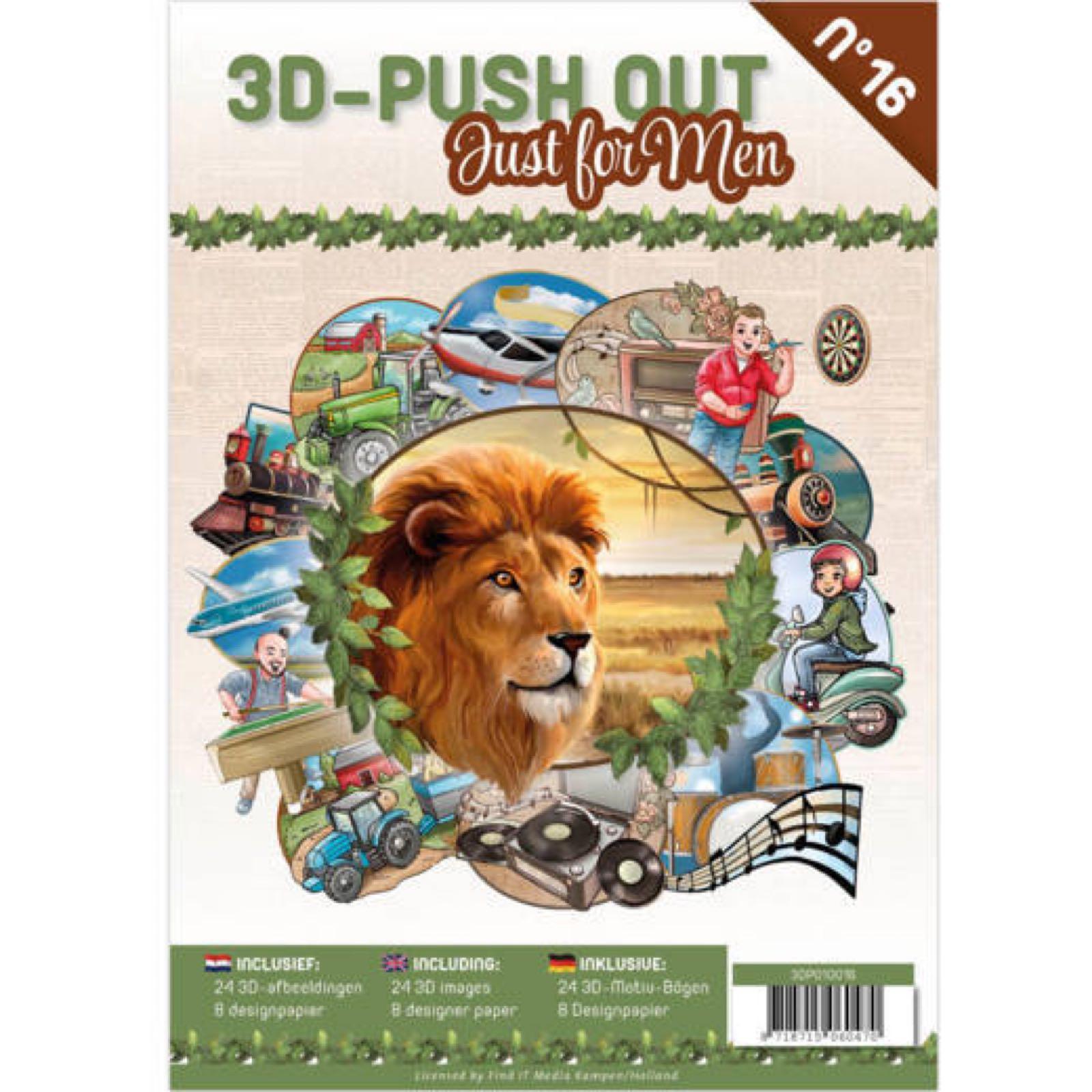 3d klippark: bok med 24 3D motiv + 8 designark. Ferdig utstansede. Just for men.