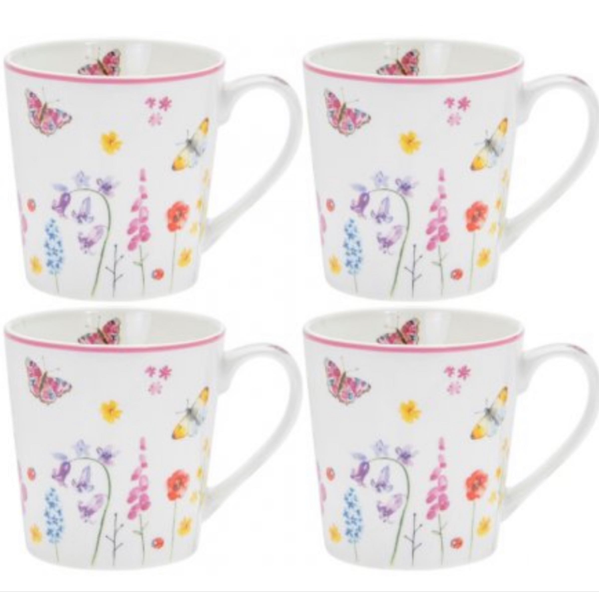 Butterfly Garden Fine China set of 4 mugs gift boxed
