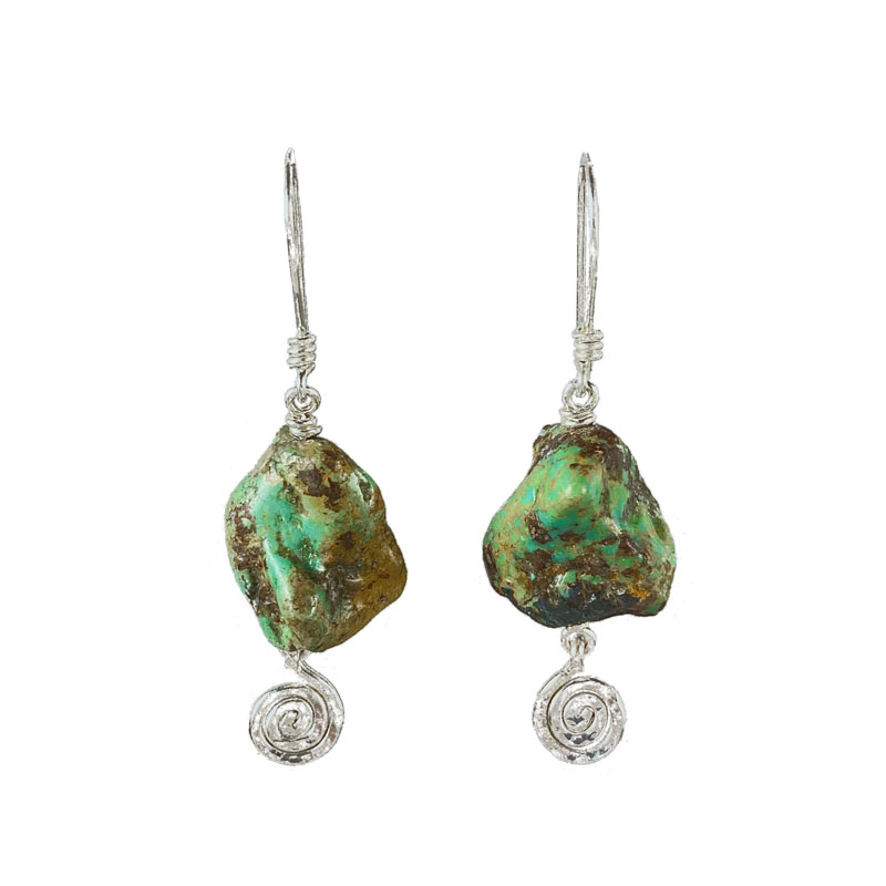 WES046, Turquoise spiral earrings